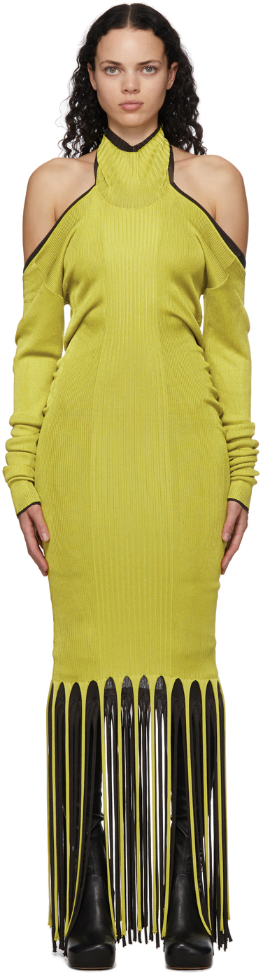 Bottega Veneta 绿色扭褶流苏连衣裙