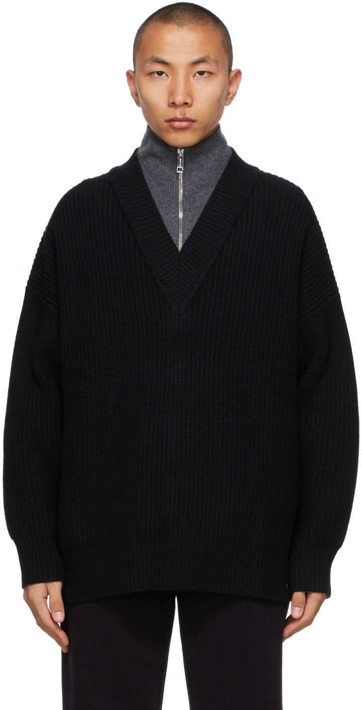 Burberry 黑色 Pipard 半拉链套头衫