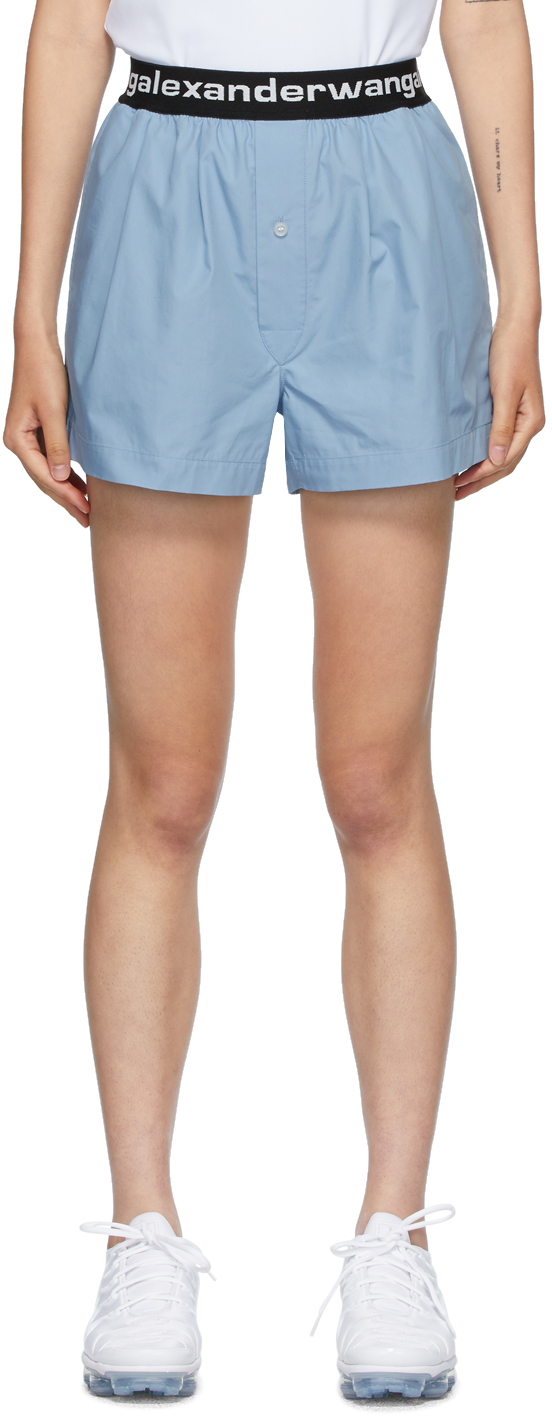 alexanderwang.t 蓝色 Boxer-Style 徽标短裤