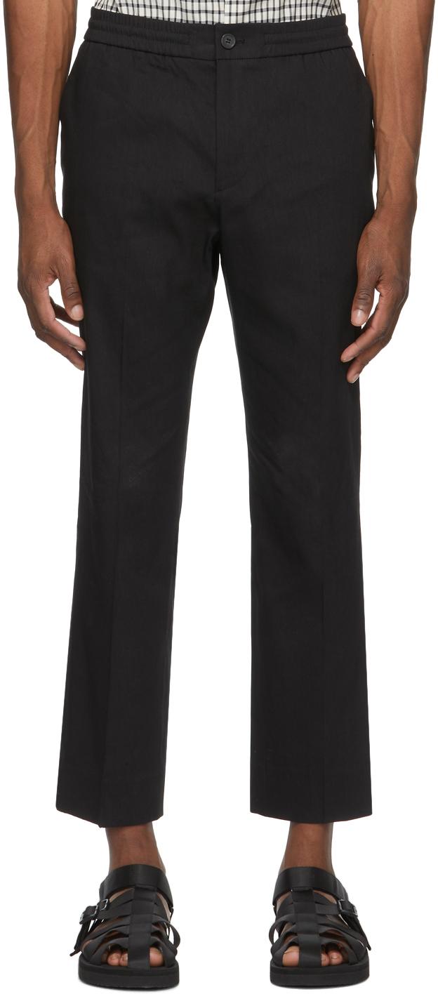 Solid Homme 黑色弹性裤腰长裤
