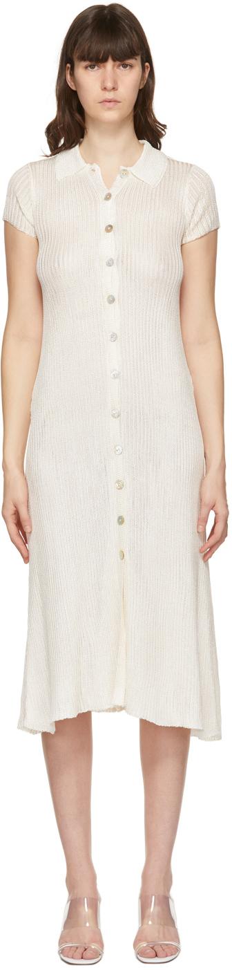 Calle Del Mar 灰白色纽扣连衣裙