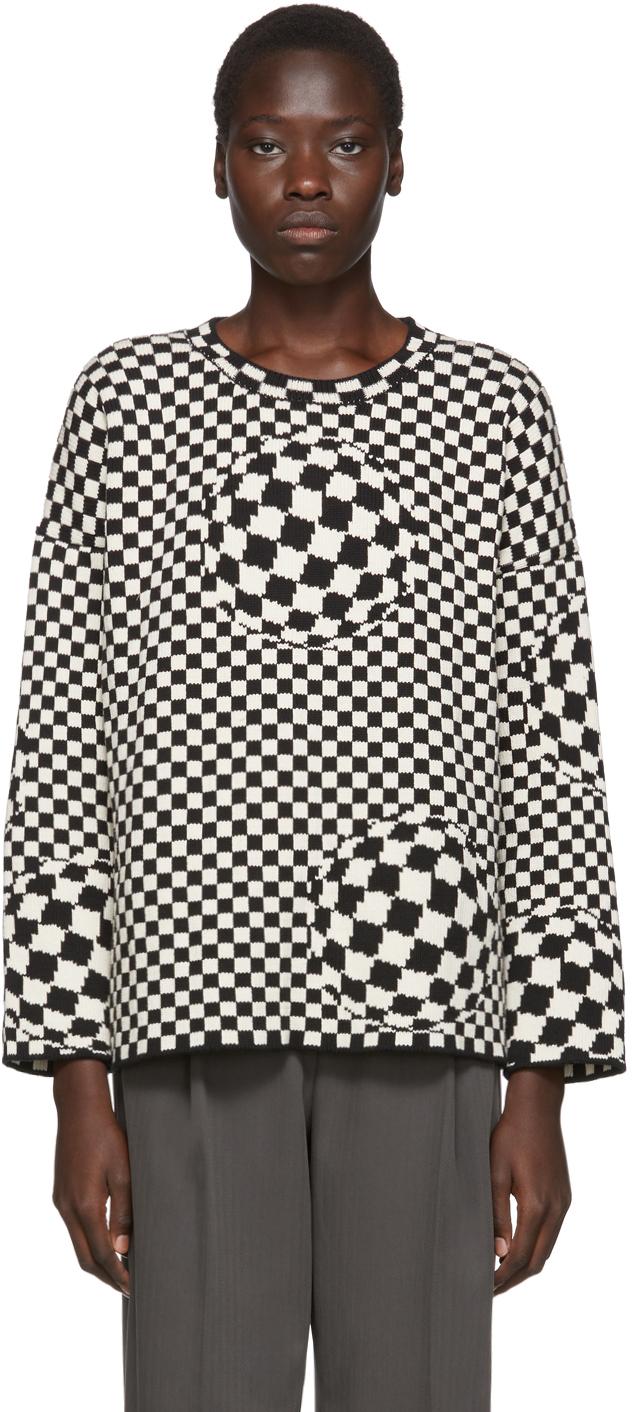 Off-White 黑色 & 灰白色格纹毛衣