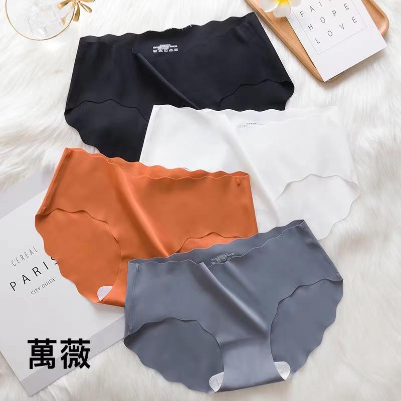 【萬薇】無痕冰絲內褲女透氣純棉襠抗菌內褲中腰純色三角短褲頭