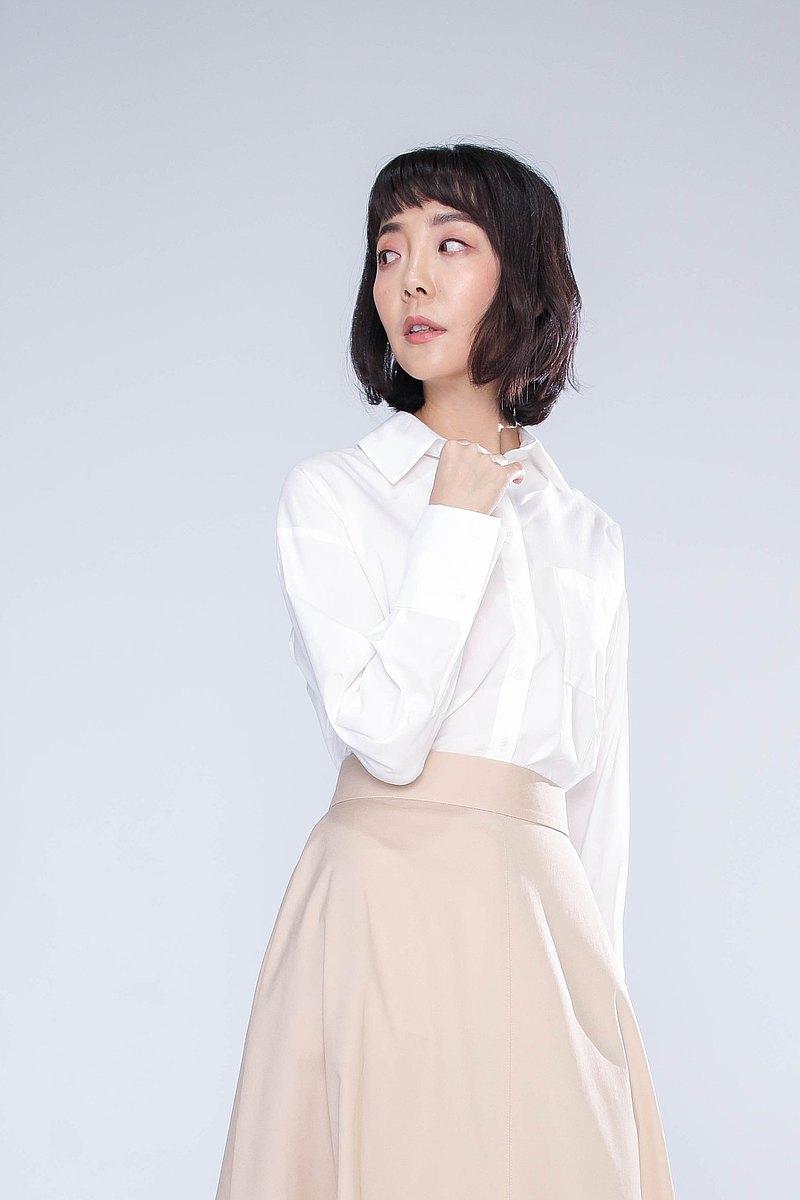 Malwine 白長袖棉襯衫 尺寸 M