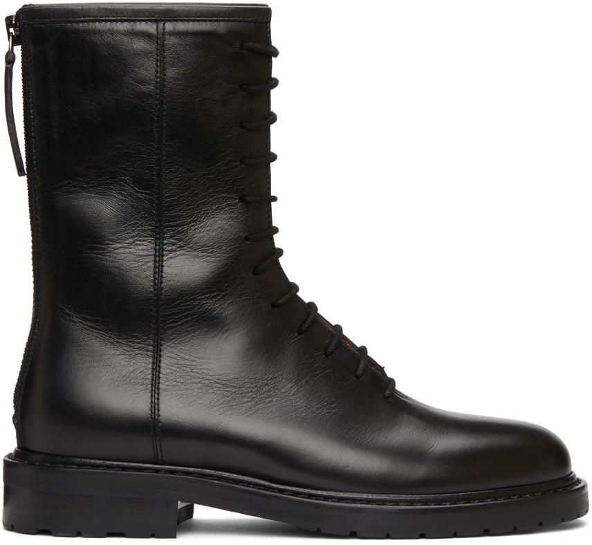 Legres 黑色军风踝靴