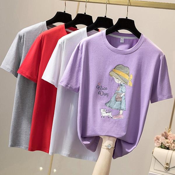 短袖T恤 韓版休閒上衣大尺碼女裝L-4XL夏季新款純棉短袖印花T恤21065MR26韓衣裳