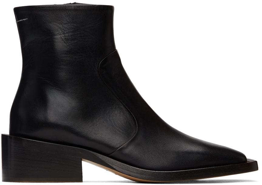 MM6 Maison Margiela 黑色皮革踝靴