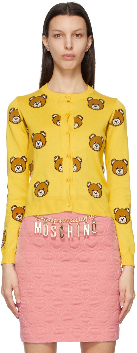Moschino 黄色 Allover Teddy 开衫