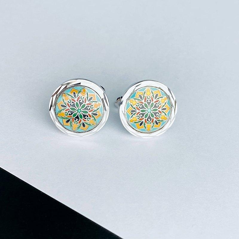 十二脊鏡[綠色]景泰藍袖扣袖扣純銀金屬景泰藍