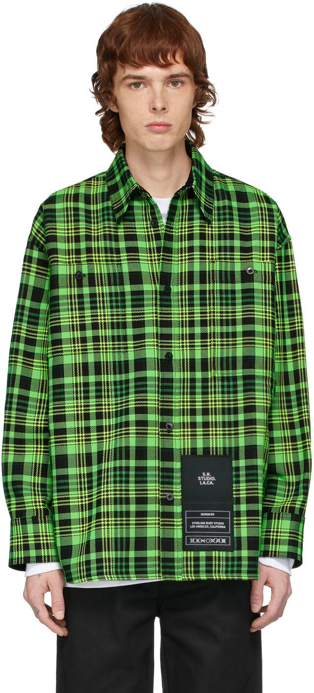 S.R. STUDIO. LA. CA. 绿色 Open-Weave 大廓形格纹衬衫
