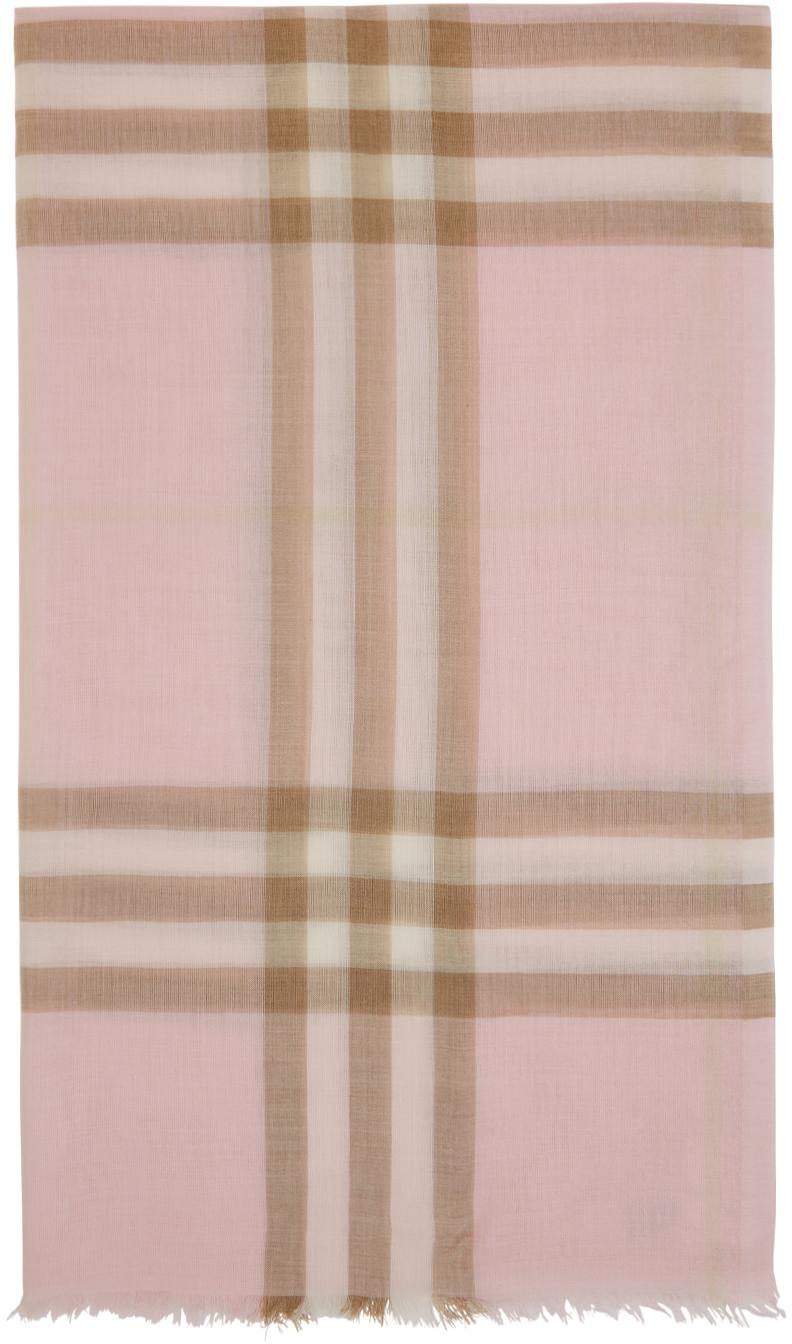 Burberry 粉色 Giant Check 薄纱围巾
