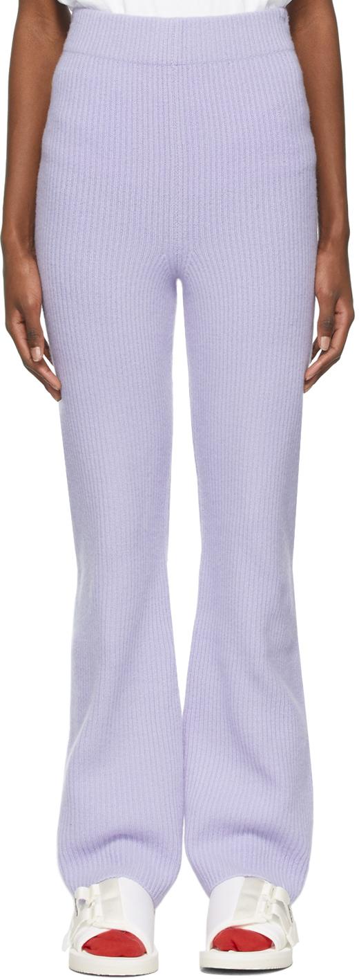 The Elder Statesman 紫色羊绒喇叭裤