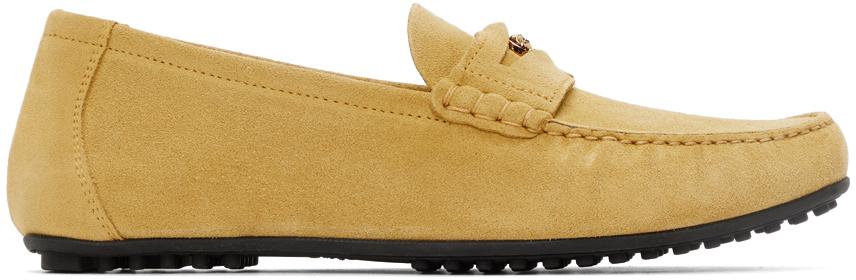 Versace 黄色绒面革乐福鞋