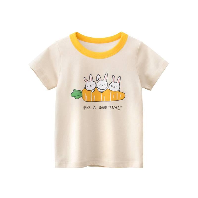 27品牌最新款韓版童裝 夏季可愛女童短袖T卹 純棉寶寶上衣卡通兔子孩子衣服米杏色