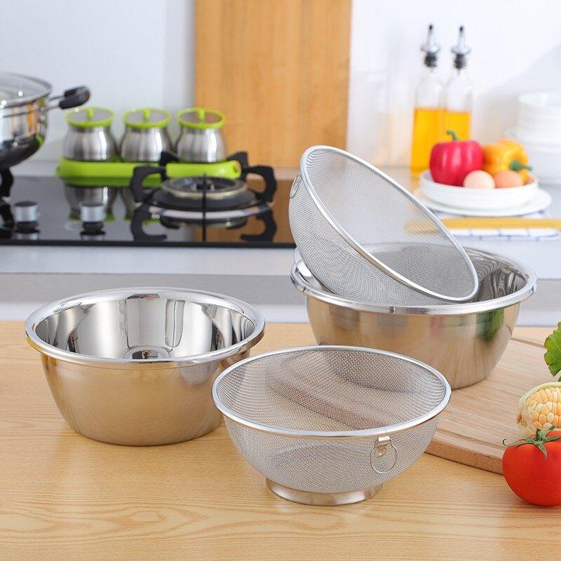 304優質不銹鋼洗米篩 水果籃洗菜籃瀝水籃淘米器18/20/22cm套裝 艾琴海小屋