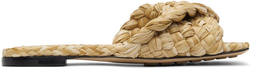 Bottega Veneta 米色 Stretch 拉菲草凉鞋