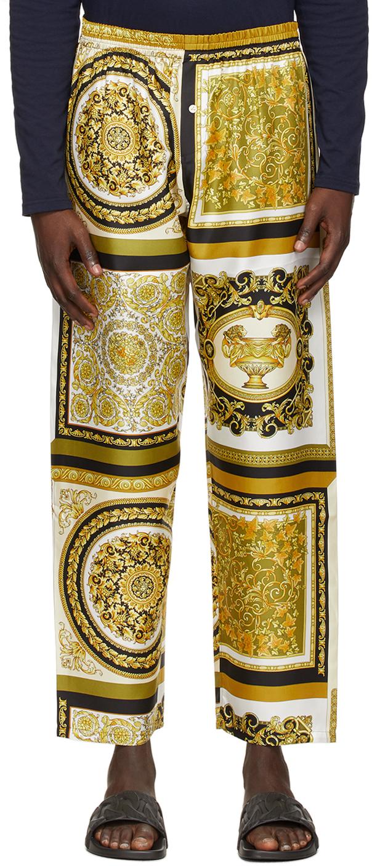 Versace Underwear 多色 Barocco Mosaic 真丝长裤
