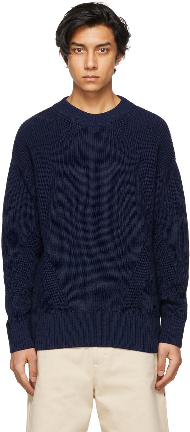 AMI Alexandre Mattiussi 海军蓝 Ribbed Boxy 有机棉套头衫