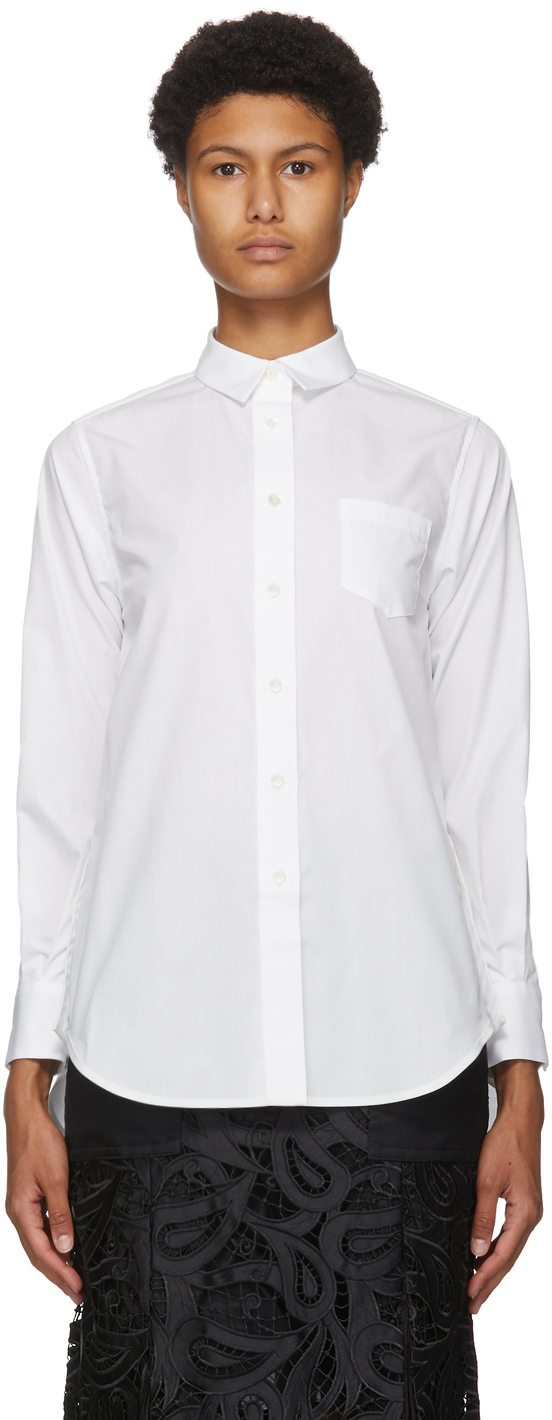 Sacai 白色前短后长式衬衫