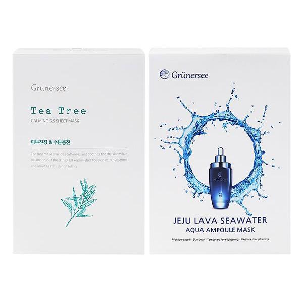 韓國 GRUNERSEE 茶樹5.5鎮定/濟州島熔岩海水精華 面膜(10片盒裝)【小三美日】DS000747