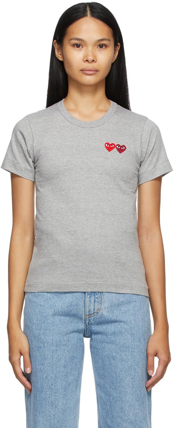Comme des Garçons Play 灰色 Double Heart T 恤
