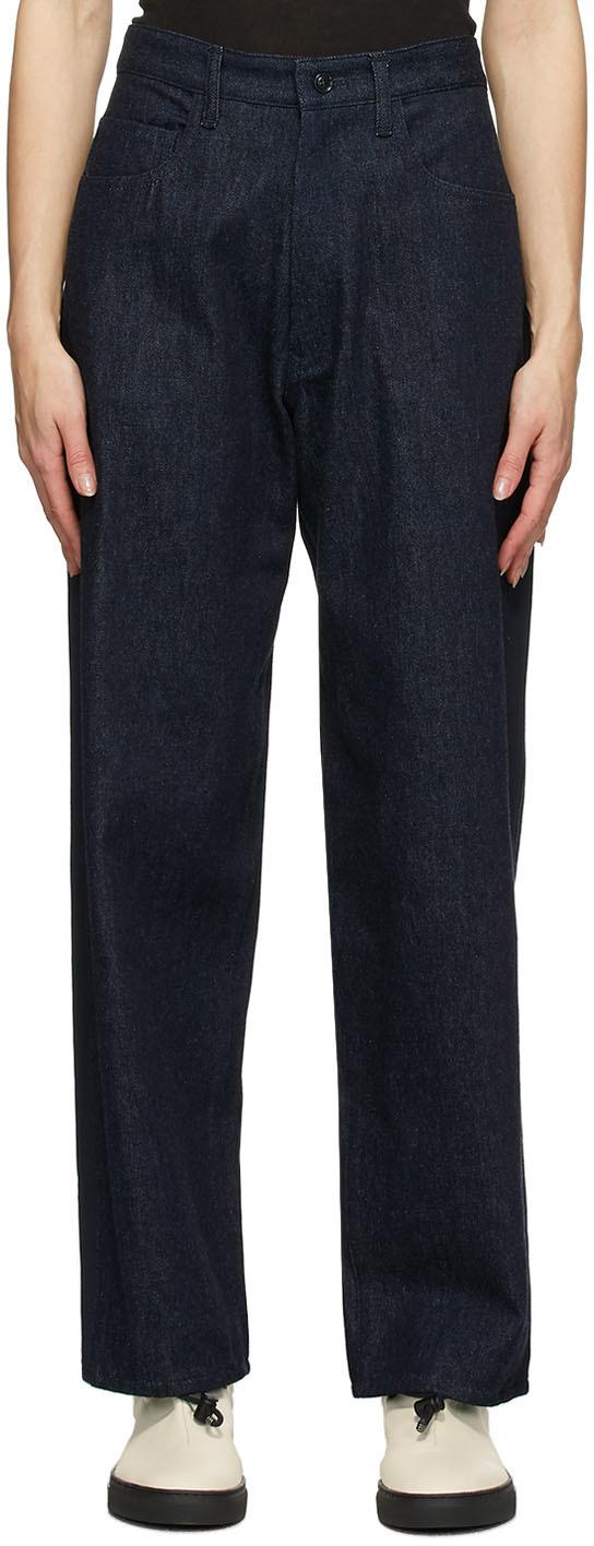 Y's 海军蓝 U-Side Stripe 牛仔裤