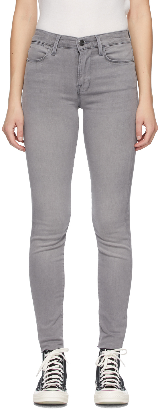 FRAME 灰色 Le High Skinny 牛仔裤