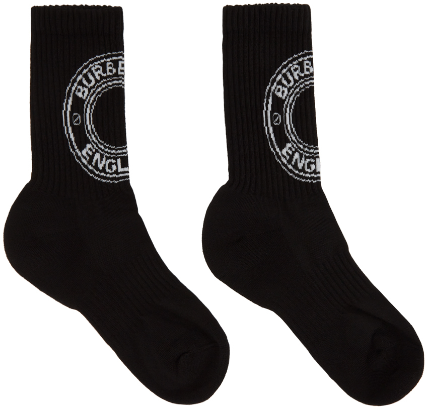 Burberry 黑色嵌花徽标中筒袜