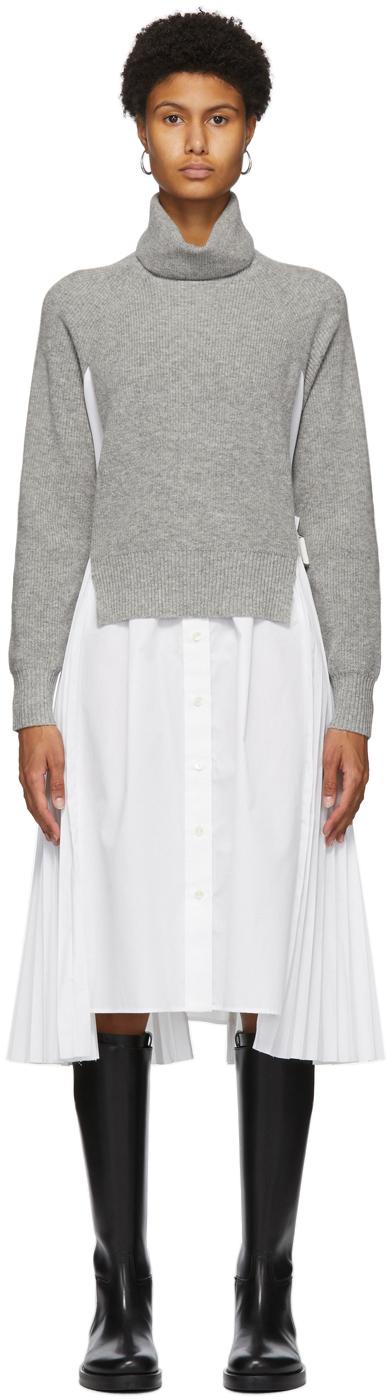 Sacai 灰色 & 白色衬衫连衣裙