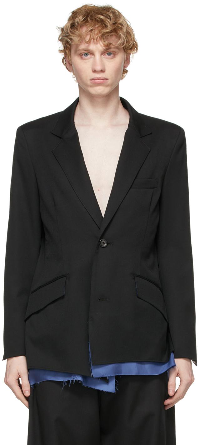 Sulvam 黑色叠层羊毛西装外套