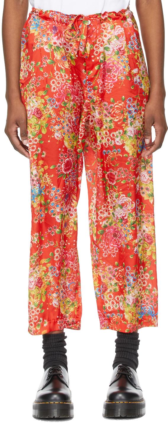 Comme des Garçons Comme des Garçons 红色花卉休闲裤