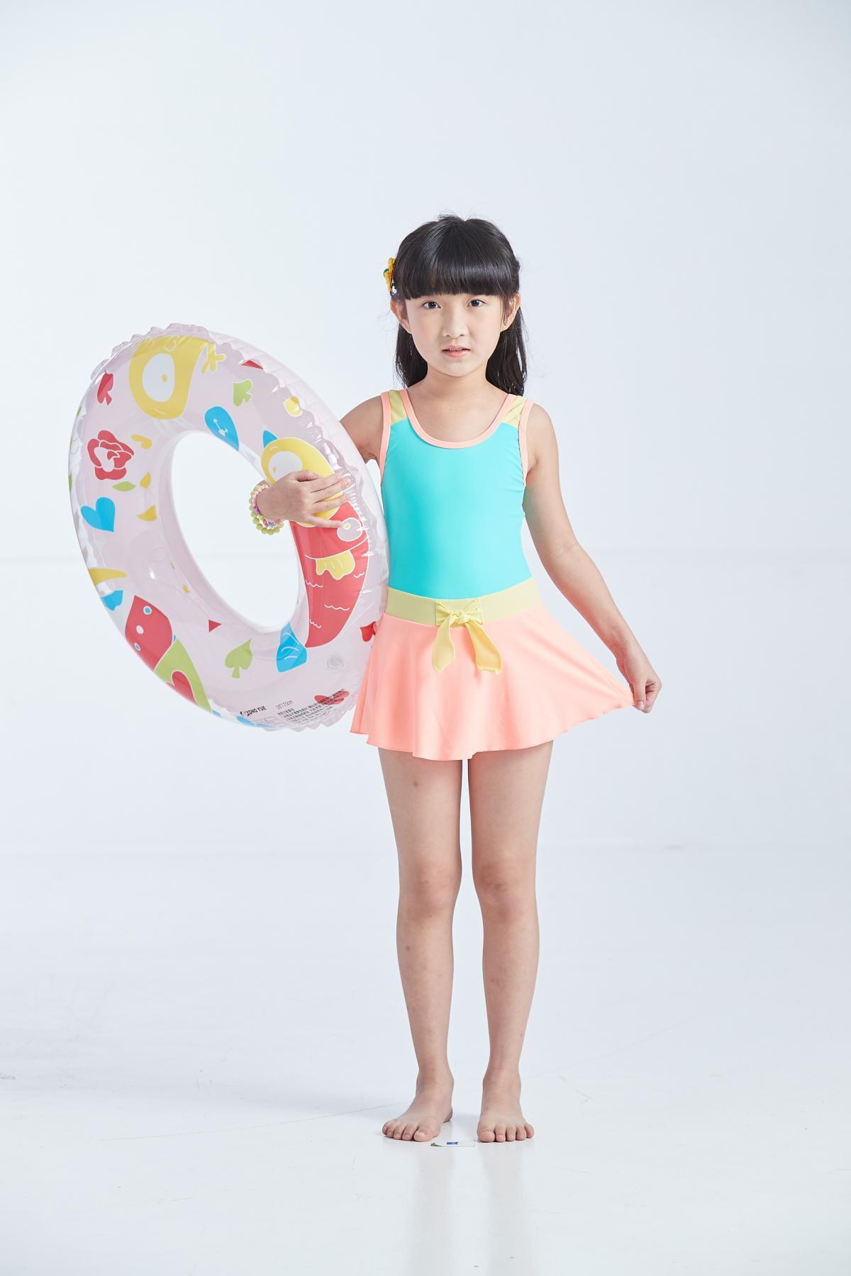 APPLE蘋果牌泳裝 女童綠黃橙配色連身裙泳衣 108607