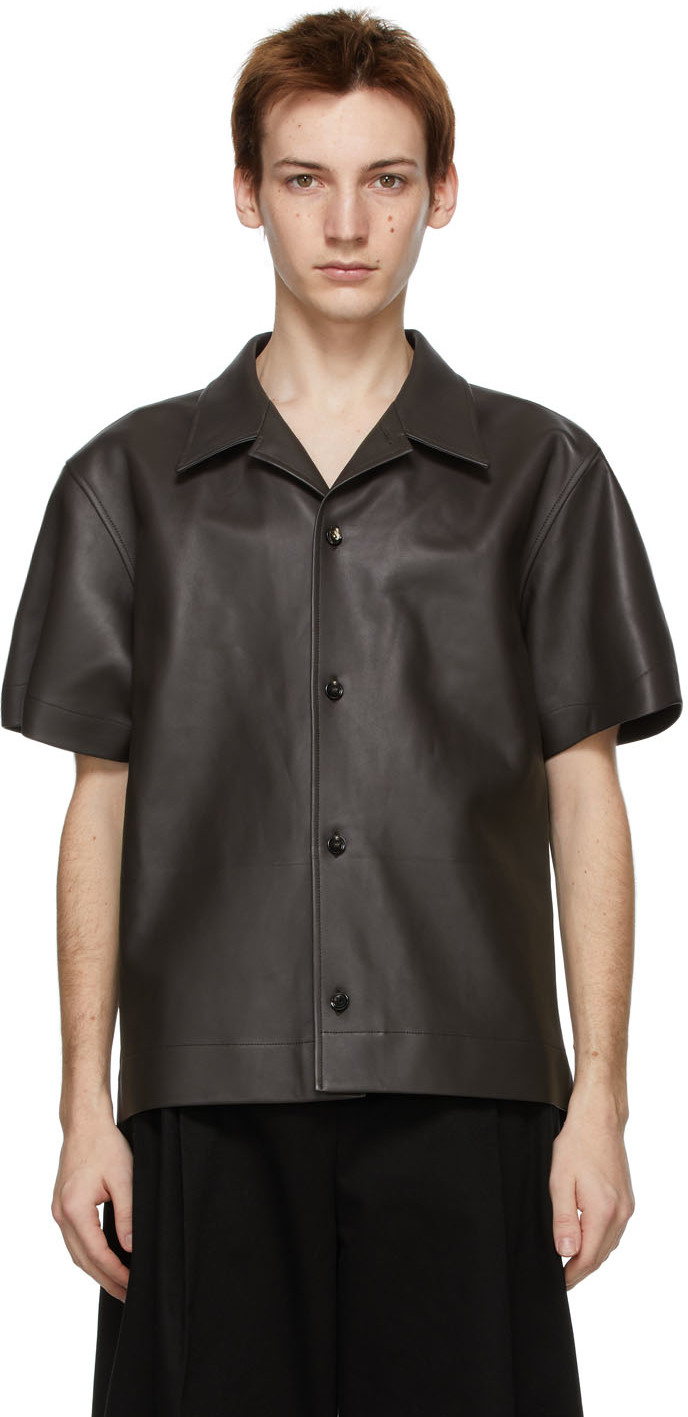 Bottega Veneta 棕色皮革短袖衬衫