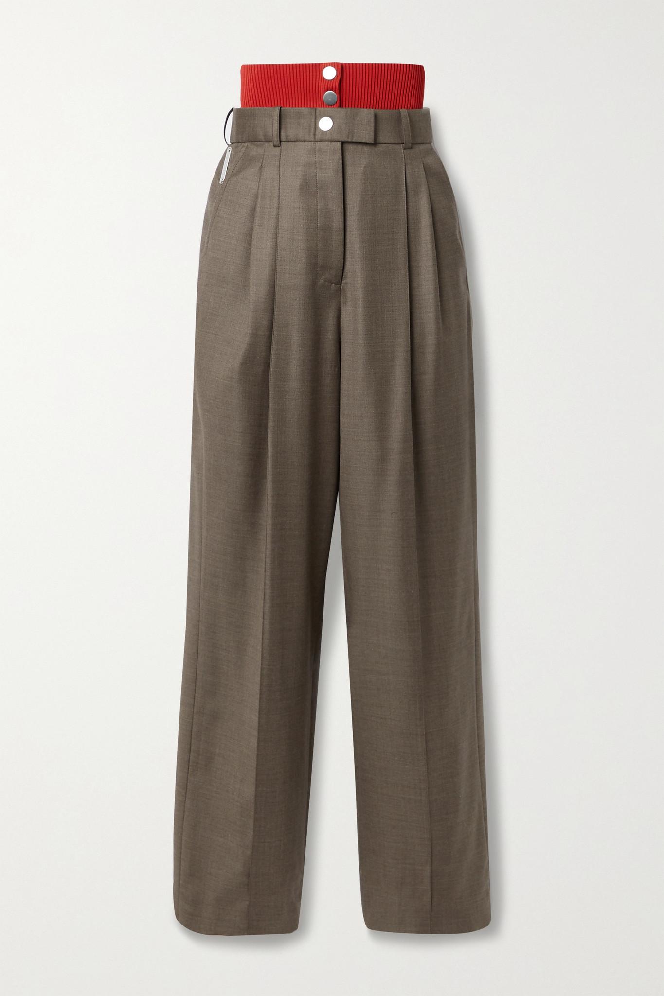 PETER DO - 罗纹针织边饰羊毛直筒裤 - 中性色 - FR36