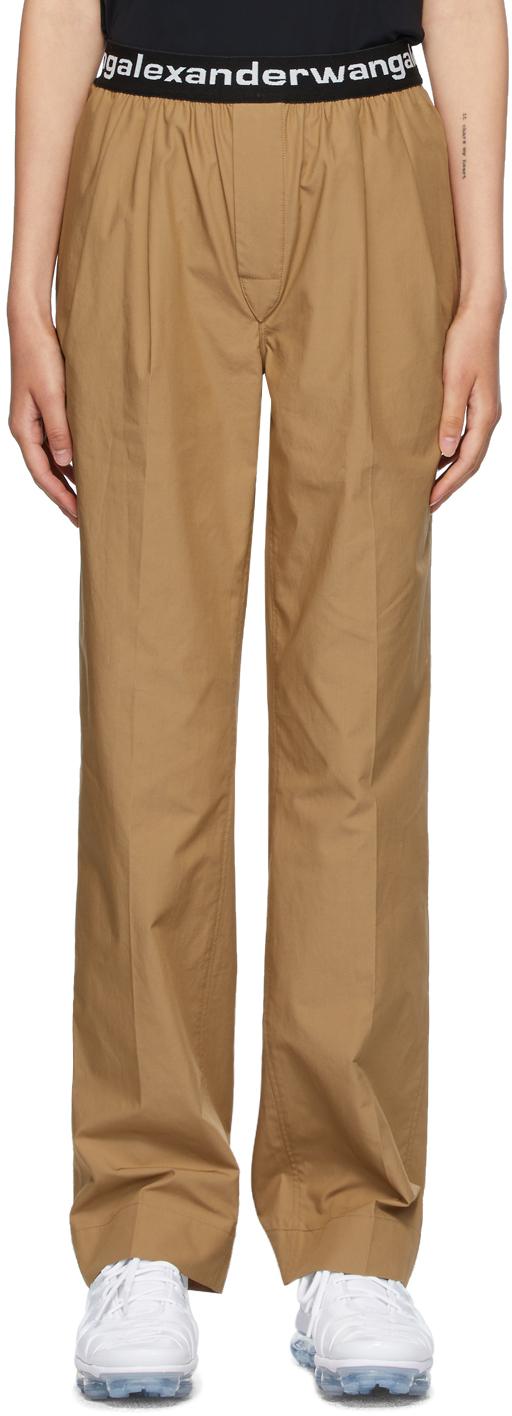 alexanderwang.t 黄褐色褶裥运动裤