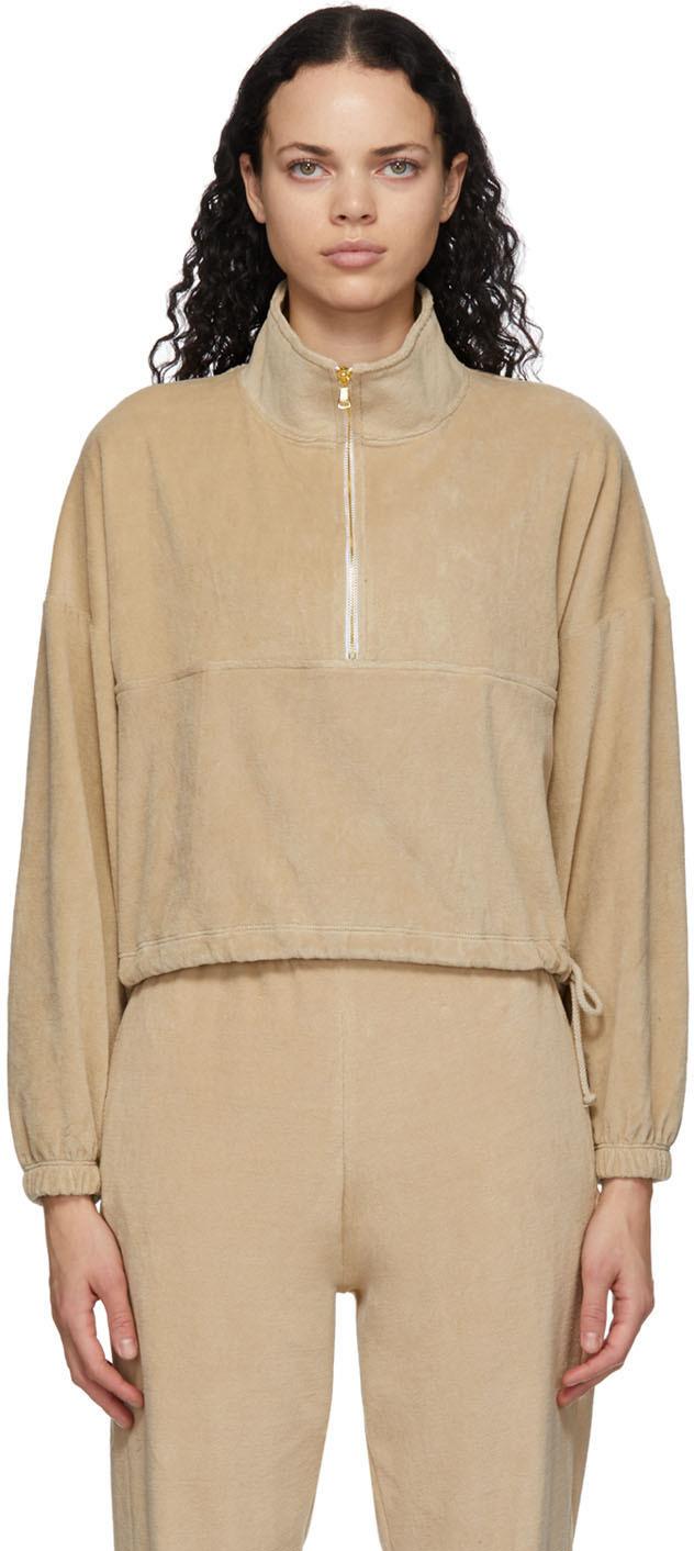 Gil Rodriguez 黄褐色 Diana 天鹅绒半拉链套头衫