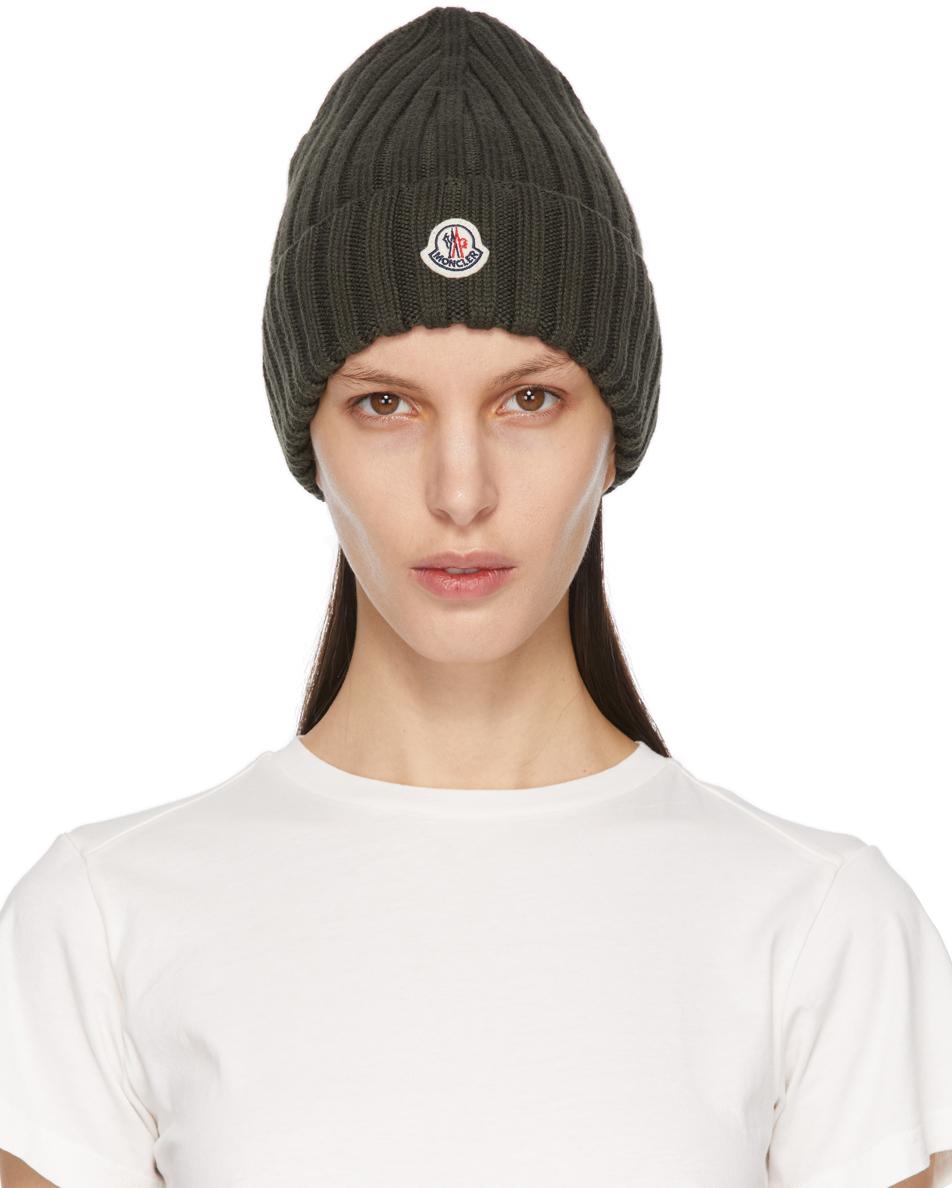 Moncler 军绿色初剪羊毛徽标毛线帽