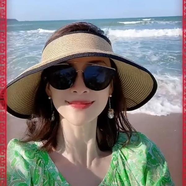 草帽 2021新款帽子章子怡同款空頂草帽女夏海邊沙灘遮陽帽防曬太陽帽 非凡小鋪 新品