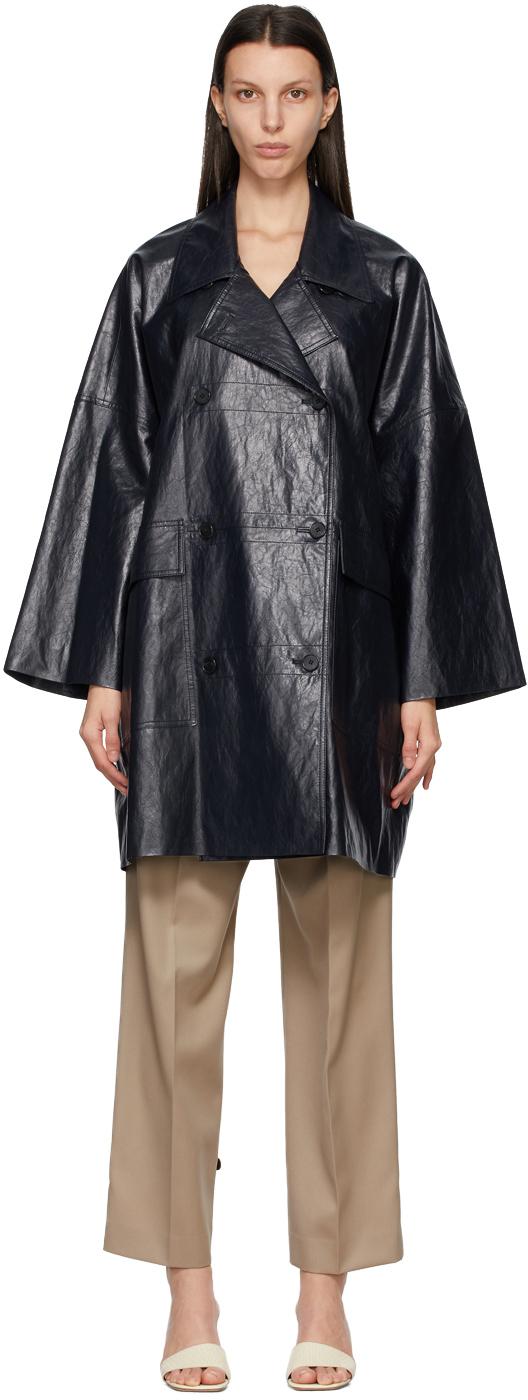DRAE 海军蓝 Boxy 合成皮革大衣