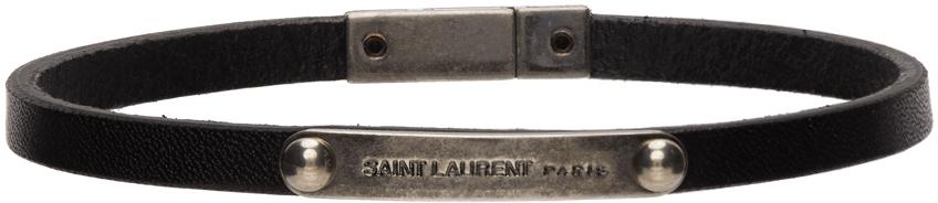 Saint Laurent 黑色徽标牌手环