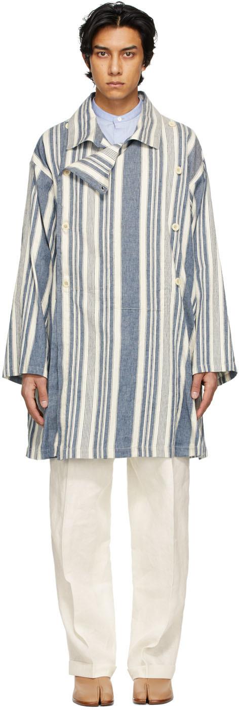 Maison Margiela 蓝色 & 白色条纹大衣