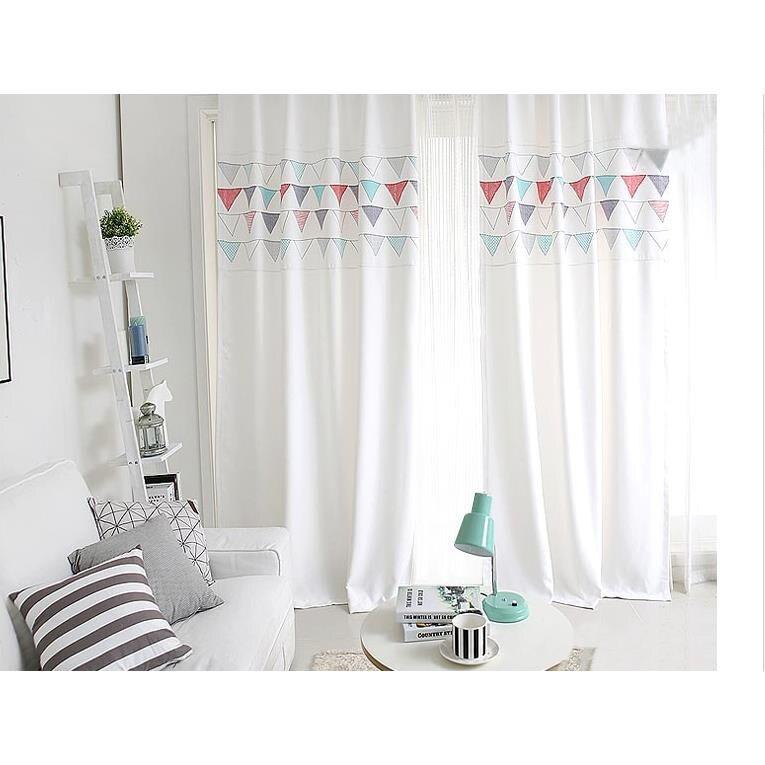 成品陽臺窗簾韓式現代簡約清新卡通遮光客廳臥室落地兒童房 艾琴海小屋
