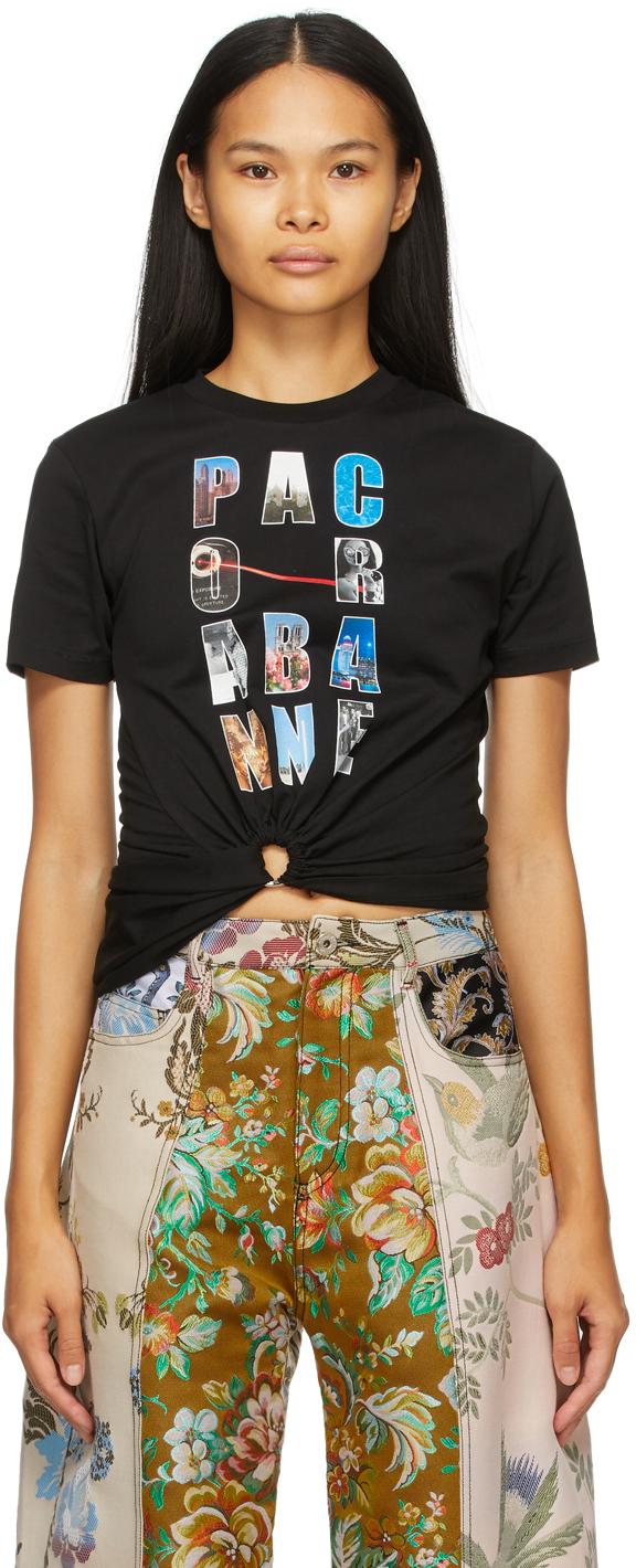 Paco Rabanne 黑色 Block Logo 抽褶有机棉 T 恤