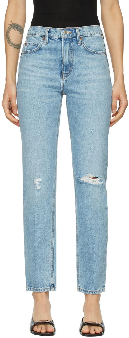 Re/Done 蓝色 70s Straight Rigid 牛仔裤