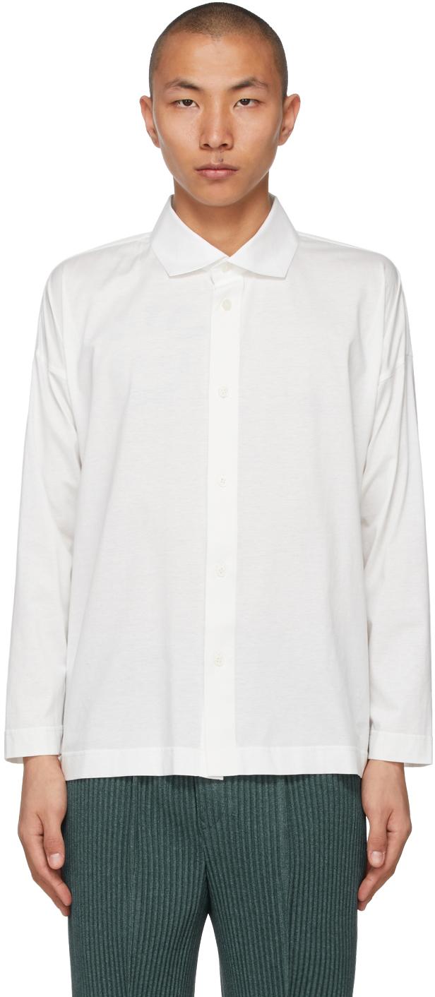 Homme Plissé Issey Miyake 白色翻领衬衫
