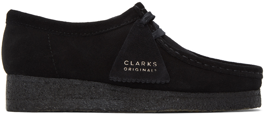 Clarks Originals 黑色 Wallabee 绒面革莫卡辛鞋