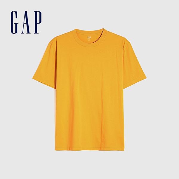 Gap男裝 純棉舒適圓領短袖T恤 706800-玉米黃
