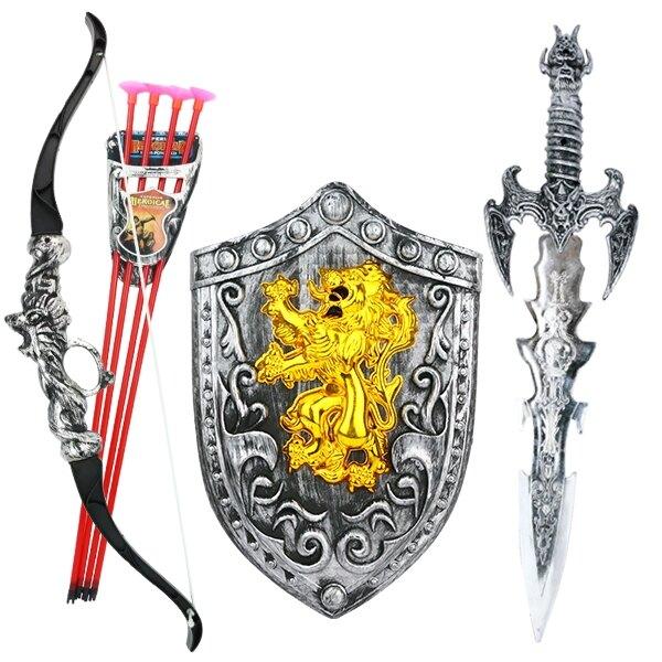 弓箭玩具 兒童弓箭吸盤射擊玩具套裝傳統玩具弩寶劍盾牌組合男孩玩具禮物