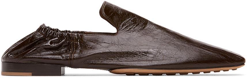Bottega Veneta 黑色方头皮革乐福鞋