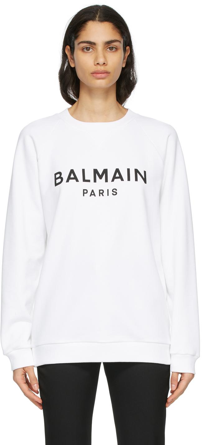 Balmain 白色徽标套头衫